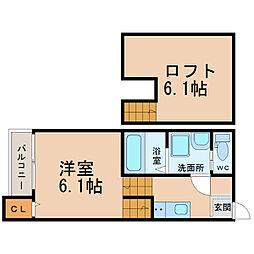 愛知県名古屋市昭和区山脇町4丁目の賃貸アパートの間取り