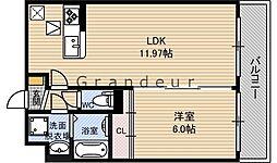 フルールM 1階1LDKの間取り
