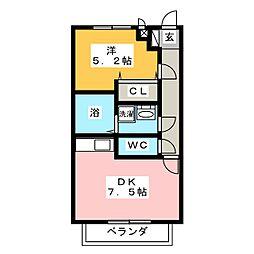 サンライズ奥村[2階]の間取り