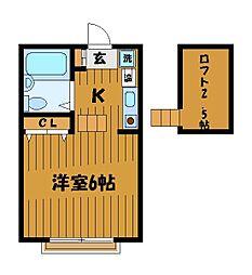 東京都小平市上水本町の賃貸アパートの間取り