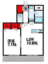 JR鹿児島本線 福工大前駅 徒歩13分の賃貸マンション 2階1LDKの間取り