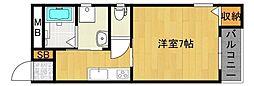 エムステージ平野本町 2階1Kの間取り