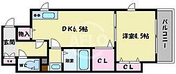 ラナップスクエア四天王寺 5階1DKの間取り