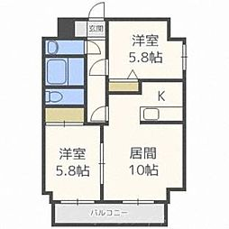 北海道札幌市中央区北七条西17丁目の賃貸マンションの間取り