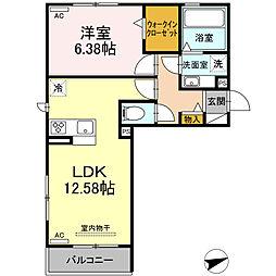 (仮)D-room北岡崎 2階1LDKの間取り