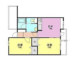 デュオブラウンA棟[2階]の間取り