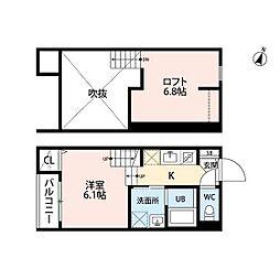 JR鹿児島本線 九産大前駅 徒歩13分の賃貸アパート 1階ワンルームの間取り