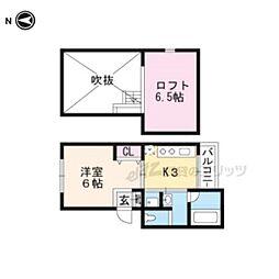 京都市営烏丸線 五条駅 徒歩4分の賃貸マンション 4階1Kの間取り