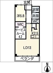 里水マンション A棟[6階]の間取り