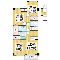 長野県安曇野市穂高の賃貸マンションの間取り