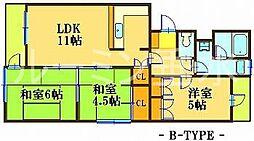 シャトル大津和[4階]の間取り