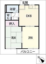 タウニーカワムラA[1階]の間取り