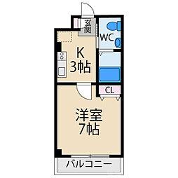 松尾ハイツ 1階1Kの間取り