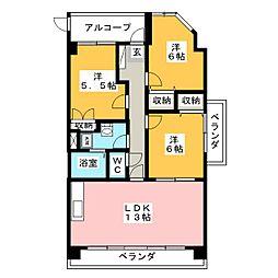 クレール新屋敷[5階]の間取り