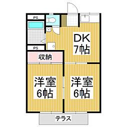 コーポシャローム A[1階]の間取り