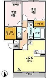 グリーンレジデンス A棟[2階]の間取り