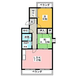 ファミール新西[4階]の間取り