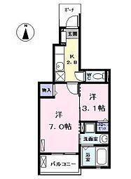名古屋市営東山線 中村公園駅 バス13分 東条下車 徒歩7分の賃貸アパート 1階1SKの間取り