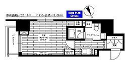 東京メトロ千代田線 赤坂駅 徒歩8分の賃貸マンション 3階1Kの間取り