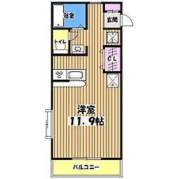 東京都八王子市裏高尾町の賃貸アパートの間取り