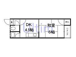 京都府京都市伏見区新町8丁目の賃貸アパートの間取り