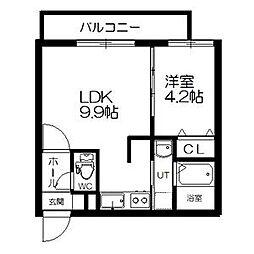 札幌市電2系統 西線6条駅 徒歩4分の賃貸マンション 4階1LDKの間取り