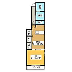 静岡県静岡市清水区北脇新田の賃貸アパートの間取り