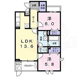 阪急千里線 南千里駅 徒歩24分の賃貸マンション 1階2LDKの間取り
