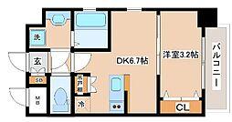 JR山陽本線 新長田駅 徒歩2分の賃貸マンション 8階1DKの間取り