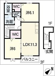 ランドマーク2011 B棟[2階]の間取り