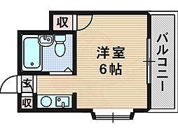 シャトー21 2階ワンルームの間取り