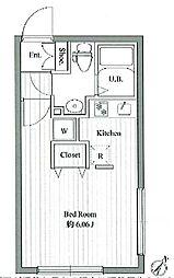 ゼスティ大塚 4階ワンルームの間取り