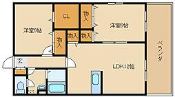 兵庫県姫路市飾磨区中浜町1丁目の賃貸アパートの間取り