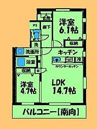 神奈川県相模原市中央区中央2丁目の賃貸マンションの間取り