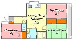 広島県広島市西区井口台2丁目の賃貸マンションの間取り