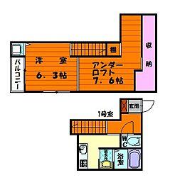 福岡県福岡市東区松崎4丁目の賃貸アパートの間取り