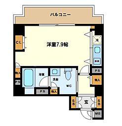 リンクハウス京町堀 4階ワンルームの間取り