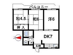 パディーフィールド21[3階]の間取り