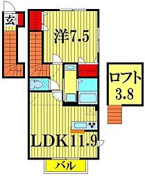 埼玉県越谷市北越谷3丁目の賃貸アパートの間取り