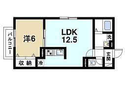 奈良県奈良市神殿町の賃貸アパートの間取り