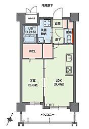 クラシオン小笹山手5番館 2階1LDKの間取り