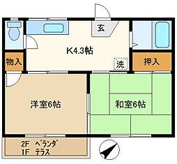 第1押田ハイツ 202[2階]の間取り