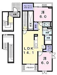 愛知県日進市浅田町平池の賃貸アパートの間取り