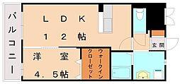 JR鹿児島本線 福間駅 徒歩15分の賃貸マンション 2階1LDKの間取り