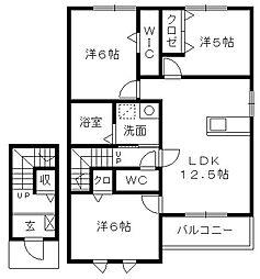 ウィット-Eささがせ[2階]の間取り