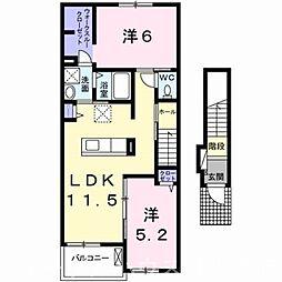 甘木鉄道 西太刀洗駅 徒歩8分の賃貸アパート 2階2LDKの間取り