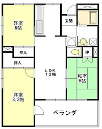メゾンドゥールII[6階]の間取り