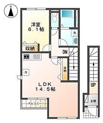 バス 津商業高校バス停下車 徒歩1分の賃貸アパート 2階1LDKの間取り