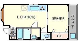 ANSOU東三国 3階1LDKの間取り