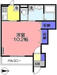 仮) 船橋市坪井東1丁目新築アパート 1階1Kの間取り